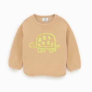 Zara baby beige- brown turtle sweatshirt